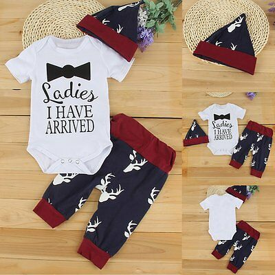 Newborn Toddler Baby Girl Boy Romper Tops+Deer Pants+Hat Outfit Clothes 3pcs Set