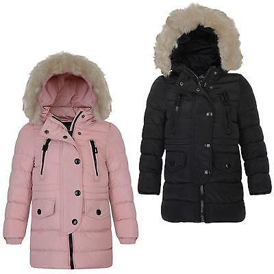 Girls Cotton Down Quilted Winter Jacket Kids Detach Trim Long Zip Coat 3-14 Year