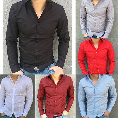 Classical Mens Stylish Slim Fit Casual and Dress Long Sleeve Shirt Multicolor