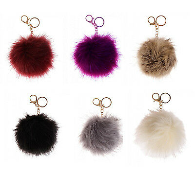Ladies Faux Fur Ball Keyring Handbag Car Pendant Pompom Charm Dangle Bag (10cm )