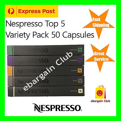 50 Capsules Nespresso Coffee Variety Pack Mixed Pod (Express Post) Top 5 Popular