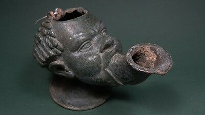 Ancient Bronze Oil Lamp African Head Rare Greco-Roman 200 Bc-100 Ad