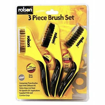 Rolson 3pc Wire Brush Set Cleaning Paint Rust Brass Steel