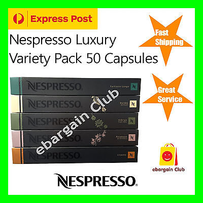 50 Capsules Nespresso Coffee Luxury Variety Pack Mixed Pod (Express Post)