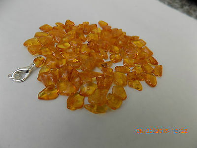 Genuine Baltic Amber Honey,Polished,Drilled Beads.  100pcs.+ 1 silver clasp.