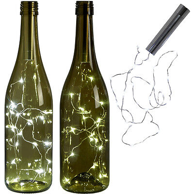 20 LED Bright White Bottle Light Kit Fairy Lights Battery Top Wedding Decoration