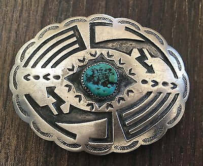 "Gorgeous ""signed"" Vintage Navajo Turquoise & Sterling Silver Belt Buckle"
