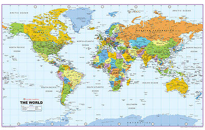 WORLD MAP - ALL COUNTRIES Colourful Large Wall Art Canvas Picture 20 x 30 inch
