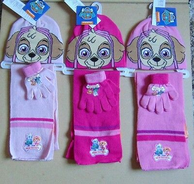 girls-paw patrol,hat gloves and scarf set