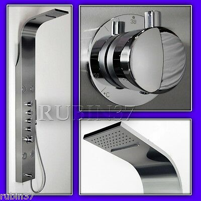 Shower Panel Column Massage Jets Thermostatic Valve  Brushed Stainless Steel