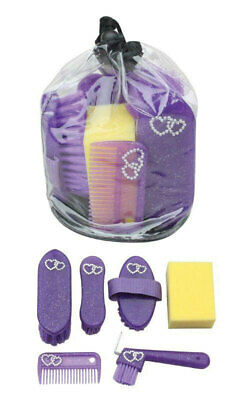 Sparkles+Bling Hearts Horse Pony childs Grooming Kit 7 piece induffle bag Purple
