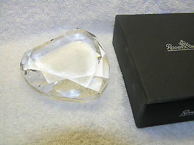 Beautiful Rosenthal Glass Paperweight Clear Crystal Faceted Edged Heart