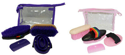 NEW Happy Horse Pony Grooming Kit 5 pieces with carry bag  PINK or PURPLE