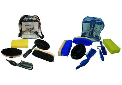 NEW Showcraft Horse Pony Grooming Kit  8 pieces with carry bag  BLACK or BLUE