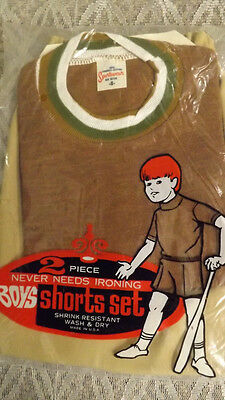 Vtg 60's Boy's Shirt/Shorts 2 pc Play Set NOS sz 8 Brown/Tan Sportswear USA Made