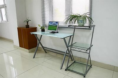 New Modern Home Office Heavy Duty Frosted Glass Computer Desk Furniture Table
