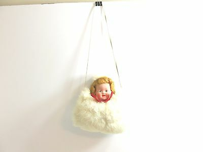 Vintage Childs Rabbit Fur Muff With Doll Head And Matching Hat On Top