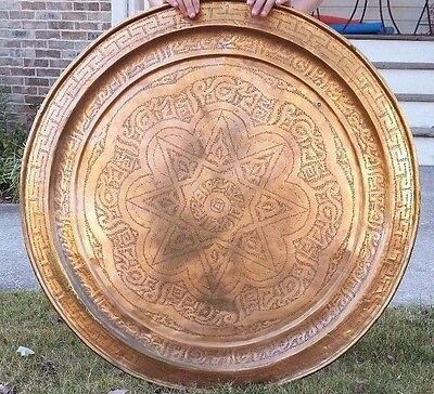 """Antique Moroccan Copper Tray Table Hand Engraved Carved Arabic Calligraphy 34"""" • CAD $225.76"""