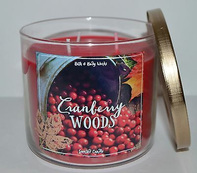 New Bath & Body Works Cranberry Woods Scented Candle 3 Wick 14.5 Oz Large Red