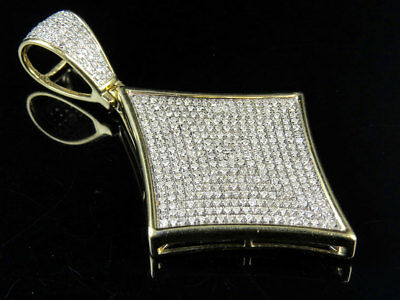 """Men's 10K Yellow Gold Genuine Real Playing Cards Kite Pendant Charm 1.50CT 2.2"""""""