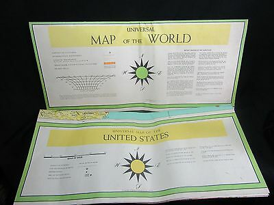 2 Incredible 1958 Universal Map's of the WORLD & USA LARGE Lithograph