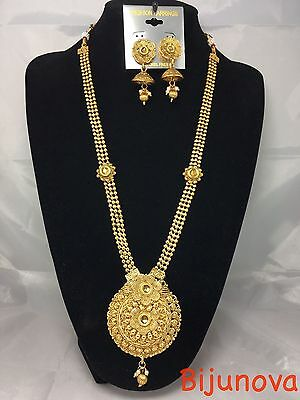 New Necklace Set Polki Gold Plated Designer Indian Costume Jewellery Bridal