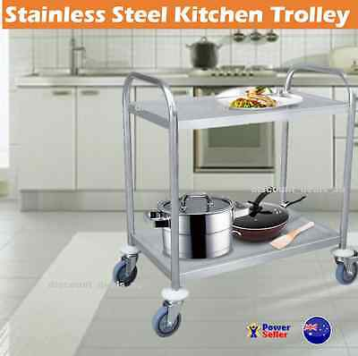 Stainless Steel Kitchen Trolley Island Bench Serving BBQ Buffet Food Cart Utilit
