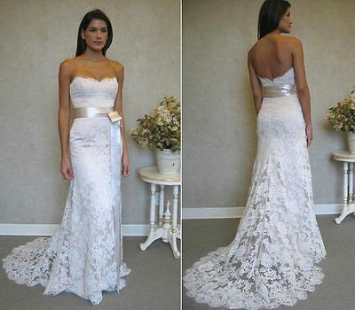 White Ivory Lace Wedding Dress Bridal Gown Custom Size 2 4 6 8 10 12 14 16 18 20