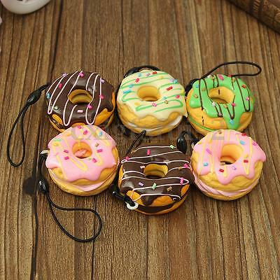 4.5cm Squishy Cream Scented Doughnut Fruit Donuts Charms Strap Cell Phone Decor