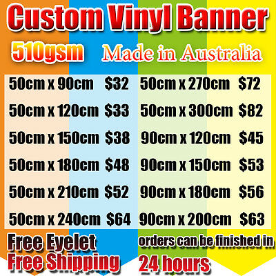 single sided Custom size Outdoor Vinyl Banner PVC  printing Australian Made