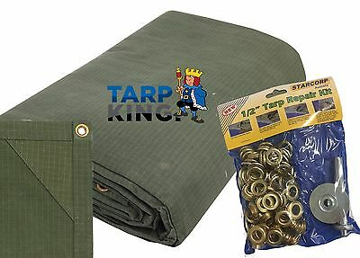 Strong Canvas Tarp with Eyelet Repair Kit - Camping / Trailer / Ute Cover