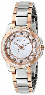 Bulova 98P134 Diamond Mother-of-Pearl Dial Rose Gold & Silver Women's Watch $375