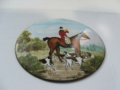Hunting Scene Horse And Hounds Enamel On Copper Plaque