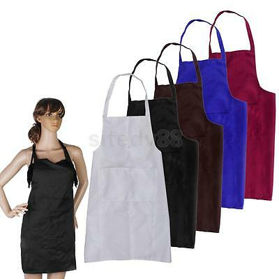 Plain Apron Front Pocket for Chef Butchers Housewife Kitchen Cooking Baking