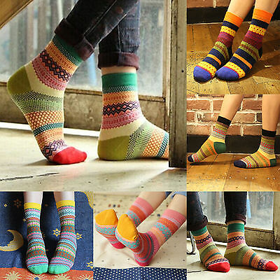Unisex Stripe Cotton Socks Design Multi-Color Fashion Dress Womens Men's Socks #