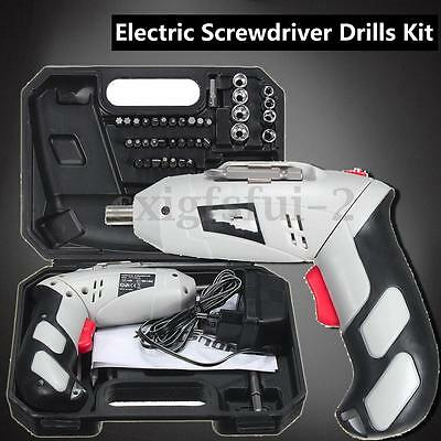 45Pcs Set 4.8V DC Rechargeable Cordless Electric Screwdriver Power Drill Kit New