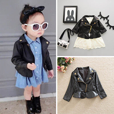 Toddler Baby Kids Girls Autumn Winter Leather Long Sleeve Coat Outerwear Jacket