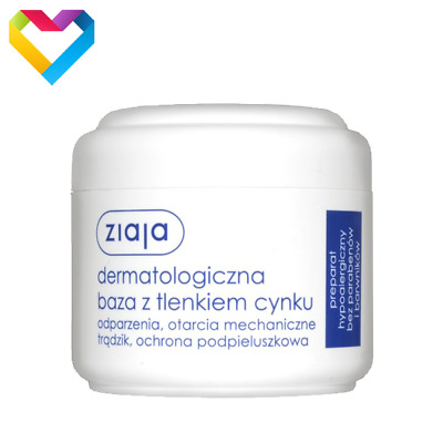 ZIAJA DERMATOLOGICAL BASE CREAM WITH ZINC OXIDE FOR SENSITIVE SKIN - 80ml 00418