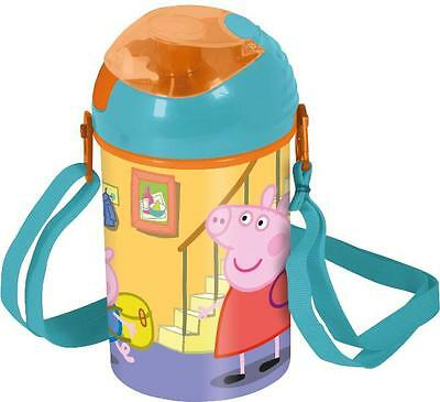 Peppa Pig Pink 500 ml Pop Up Canteen Water Bottle Flask With Neck Cord