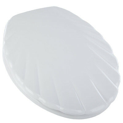 CelmacBathroom WC Toilet Seat & Lid Cover - Shell Design - White Plastic
