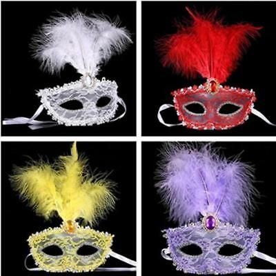 Fancy Lace Feather Venetian Mask Party Halloween Masquerade Ball Dress Costume B