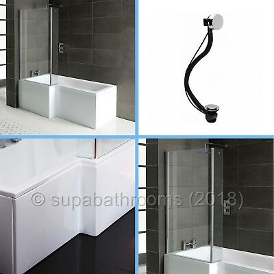 L shape square 1700 shower bath with optional panels, screen & waste