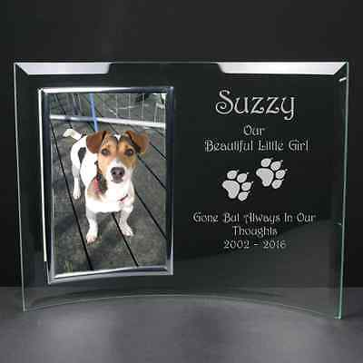 Personalised Engraved Glass Photo Frame Dog Memorial Remembrance Paw Prints
