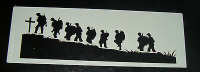 Rememberance Soldiers Cake decorating stencil Airbrush Mylar Polyester Film