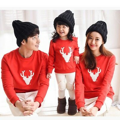 Family Tops Clothes DADDY MOMMY KID BABY Xmas Pullover T-shirt Matching Outfits