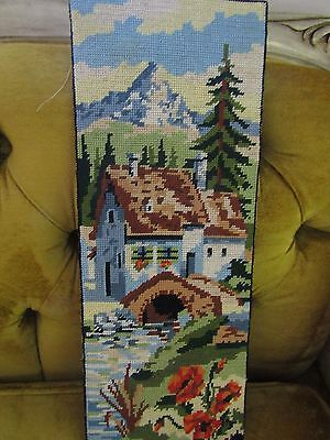 Ready to Frame Scenic Vintage Hand Made Needlepoint.