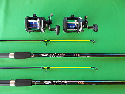 2 x beach fishing rods and 2 x multiplier  reels