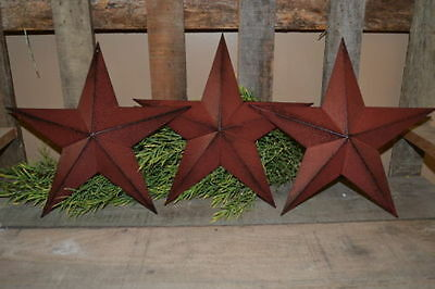 "Set of 3 12"" BURGUNDY BLACK BARN STARS Metal Tin  Primitive Country"