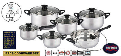 12Pcs Deluxe Quality S/s Steel Casserole, Saucepan And Fry Pan Set Induction