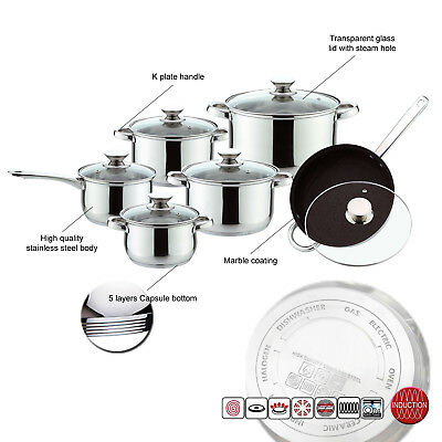 Induction Safe 12pc Stainless Steel High Quality Saucepan Casserole Cookware Set